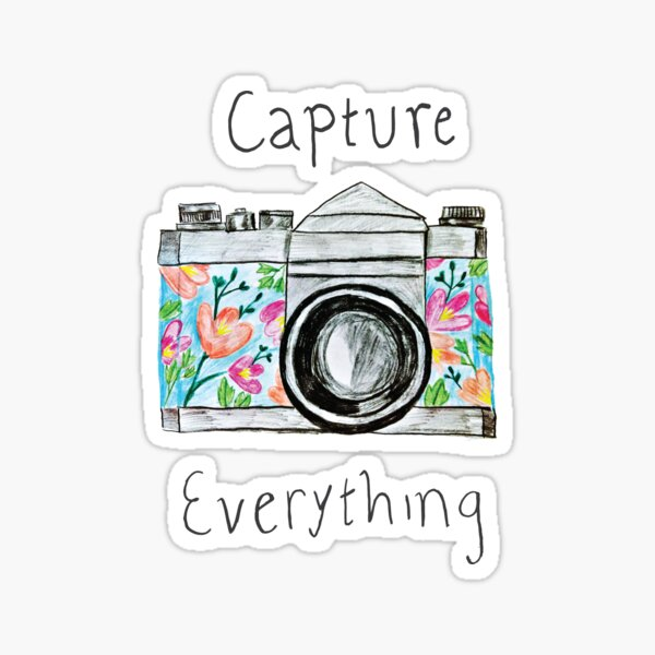 """Capture Everything"" Floral Camera Sticker"