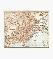 Vintage Map of Naples Italy (1897) Photographic Print