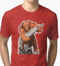 A monster destroying a city vintage comic pop art Tri-blend T-Shirt