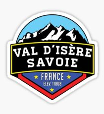 Val d'Isere France Skiing SAVOIE TARENTAISE VALLEY Ski Snowboard Mountain Silhouette Skis 2 Sticker