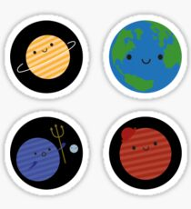 Kawaii Planets in Space Sticker
