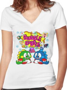 Bubble Bobble Retro Women's Fitted V-Neck T-Shirt