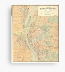 Vintage Map of Budapest Hungary (1884) Canvas Print