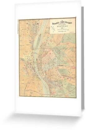 Vintage Map Of Budapest Hungary Greeting Cards By - Vintage budapest map