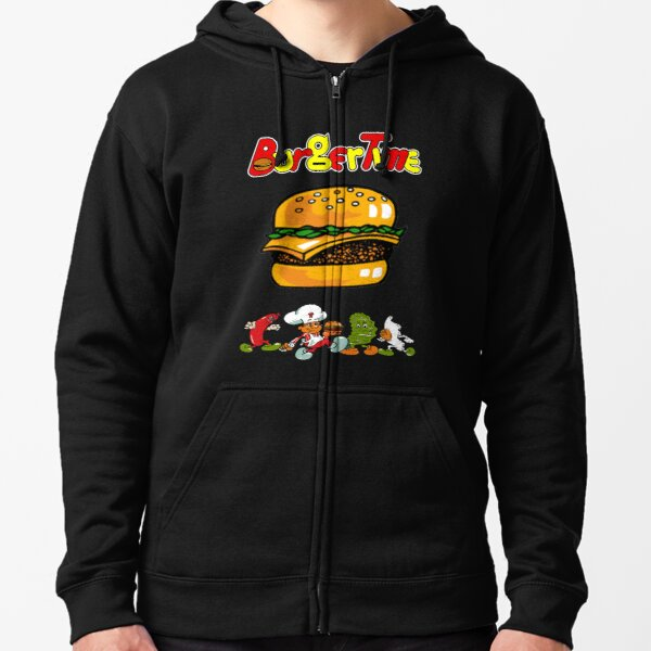 Burger Time Retro  Zipped Hoodie