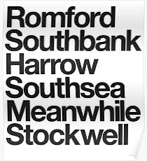 Romford. Southbank. Harrow. Southsea. Meanwhile. Stockwell. Poster