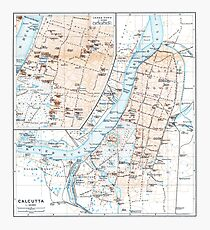 Vintage Map of Calcutta India (1914) Photographic Print