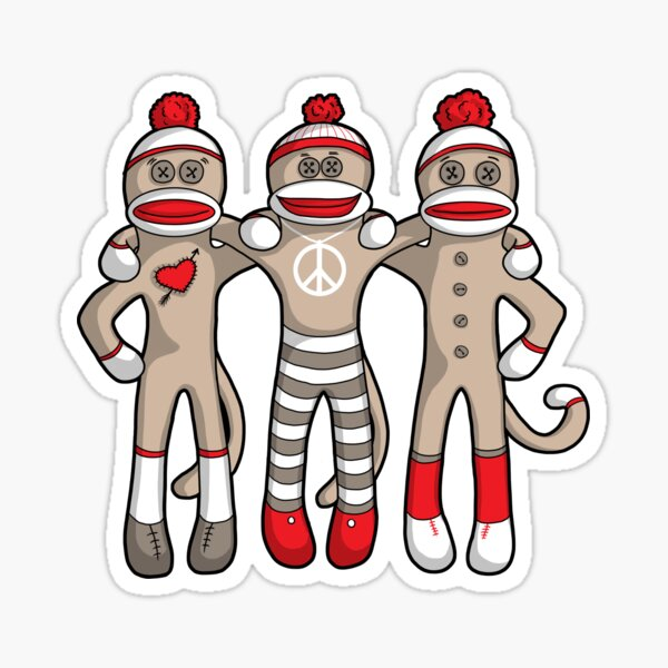 Sock Monkey Friends Forever Sticker