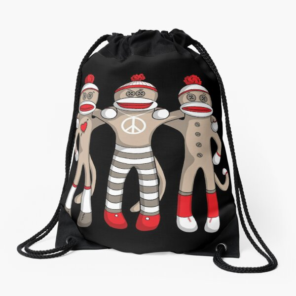 Sock Monkey Friends Forever Drawstring Bag