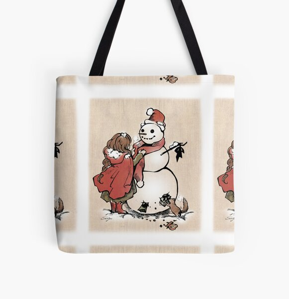 Winter Friends - Christmas, heart warming, snow man, gift from squirrel All Over Print Tote Bag