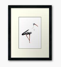 Storch-Vogel-Aquarell-Plakat-Malerei-Tierzeichnungsillustration Gerahmtes Wandbild