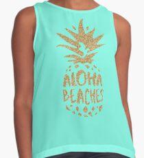 Aloha Beaches Faux Gold Glitter Contrast Tank