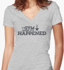 The Gym Where It Happened - Nerdstrong Gym Women's Fitted V-Neck T-Shirt