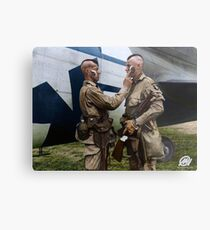 Filthy Thirteen member Clarence Ware applies war paint to Charles Plaudo. England, 31 December 1943. Metal Print