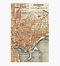Vintage Map of Catania Italy (1905) Photographic Print