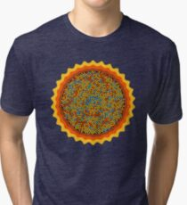 Sunflower - Digital Flower - Intricate Pattern - Golden Field of Dreams Tri-blend T-Shirt