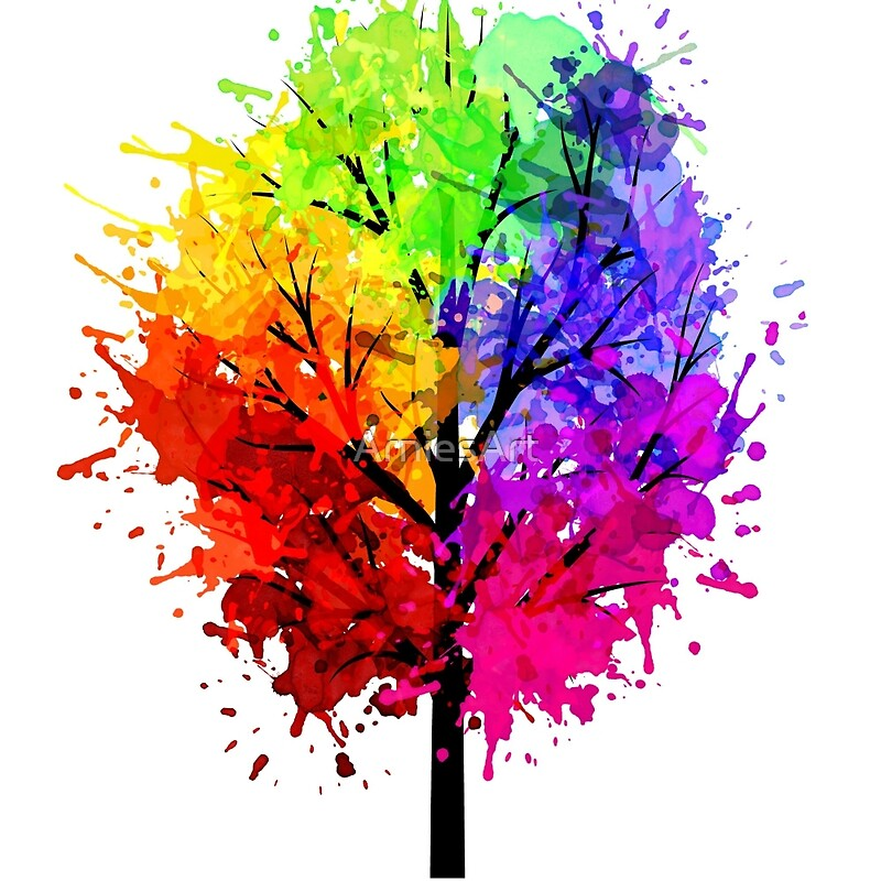 u0026quot;Rainbow Tree With Colour Splatsu0026quot; Art Prints by ArniesArt : Redbubble