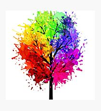 Rainbow Tree With Colour Splats Photographic Print
