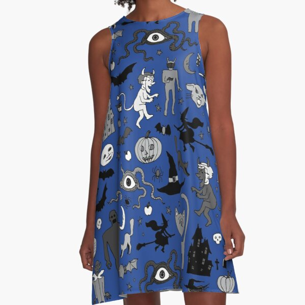 Retro Halloween - blue and grey - Halloween pattern by Cecca Designs A-Line Dress
