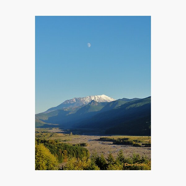 Moon Over Mount St. Helens Photographic Print