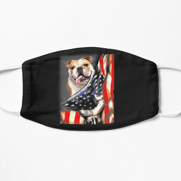 English Bulldog Dog Lover US Flag Patriotic Dog Gift Flat Mask