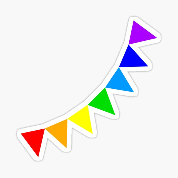Rainbow bunting flags Sticker