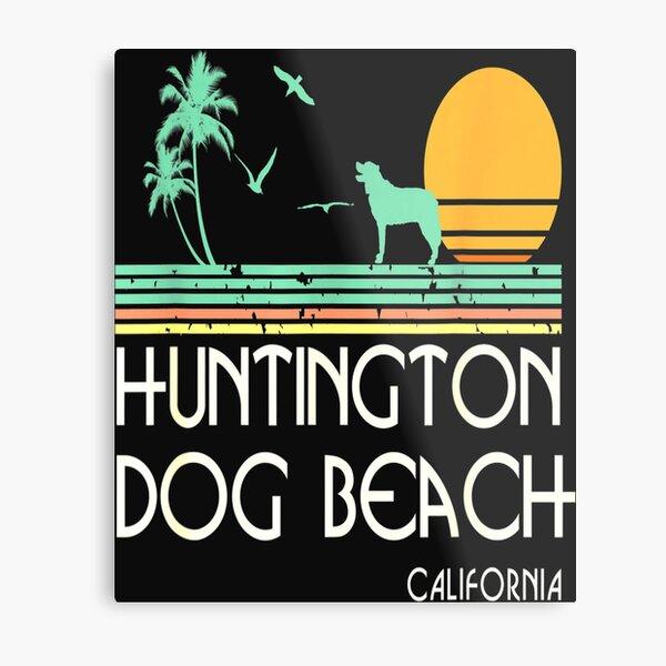 Huntington Dog Beach California Retro Vintage Style Metal Print