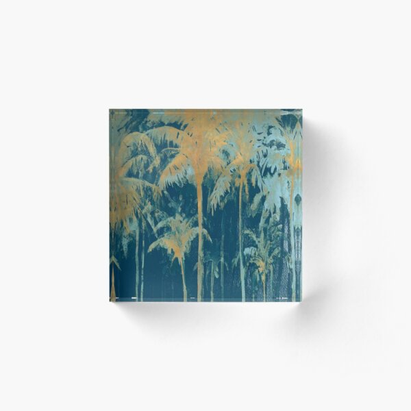 Teal And Gold Palms Acrylic Block