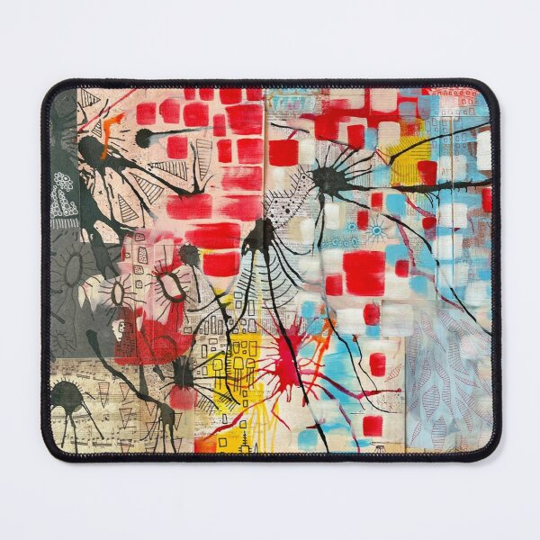 """""""Box Music"""" Variation, Recycled Art Abstract Collage Mouse Pad"""