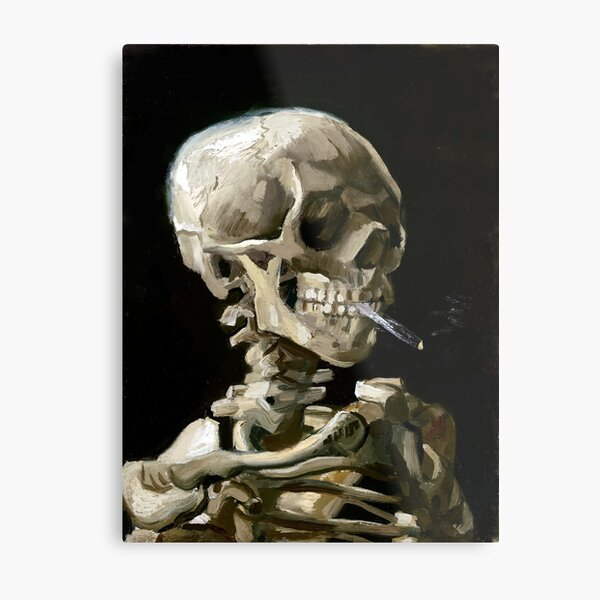 Vincent van Gogh Head of a Skeleton with a Burning Cigarette Metal Print