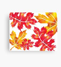 Fall Leaves Watercolor Silhouette II Canvas Print