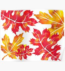 Fall Leaves Watercolor Silhouette II Poster