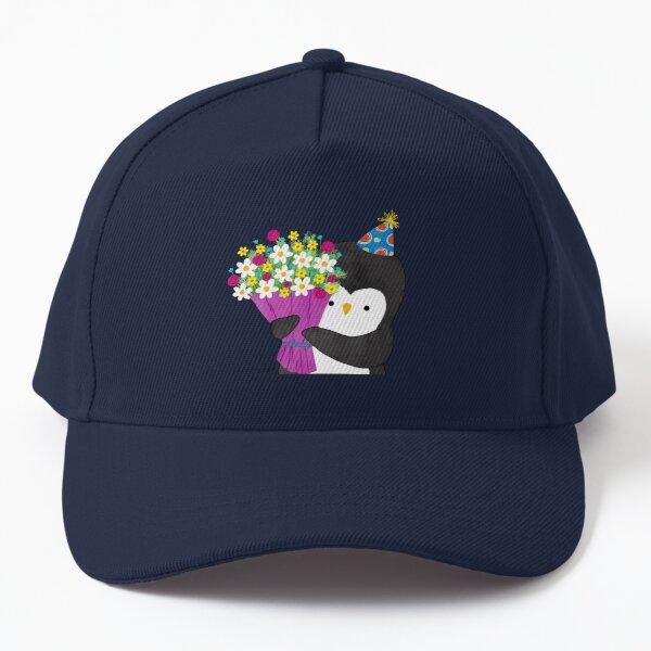 Birthday Penguin with Flowers Baseball Cap