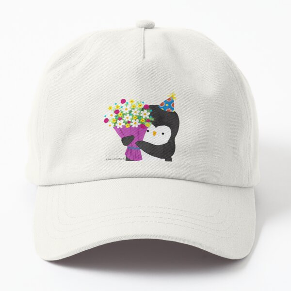 Birthday Penguin with Flowers Dad Hat