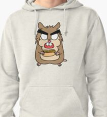 angry zombie hamster with a hotdog Pullover Hoodie