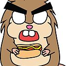 angry zombie hamster with a hotdog by shortstack