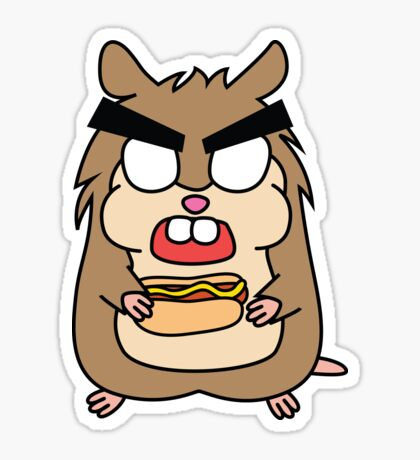 angry zombie hamster with a hotdog Glossy Sticker