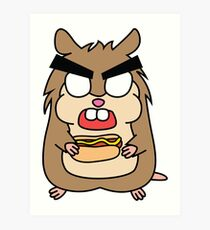 angry zombie hamster with a hotdog Art Print