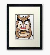 angry zombie hamster with a hotdog Framed Print