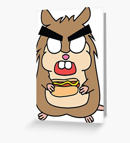angry zombie hamster with a hotdog Greeting Card
