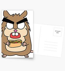 angry zombie hamster with a hotdog Postcards