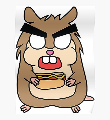 angry zombie hamster with a hotdog Poster