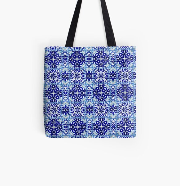 Watercolour Hand Painted Design - Blue - Pattern 78 All Over Print Tote Bag