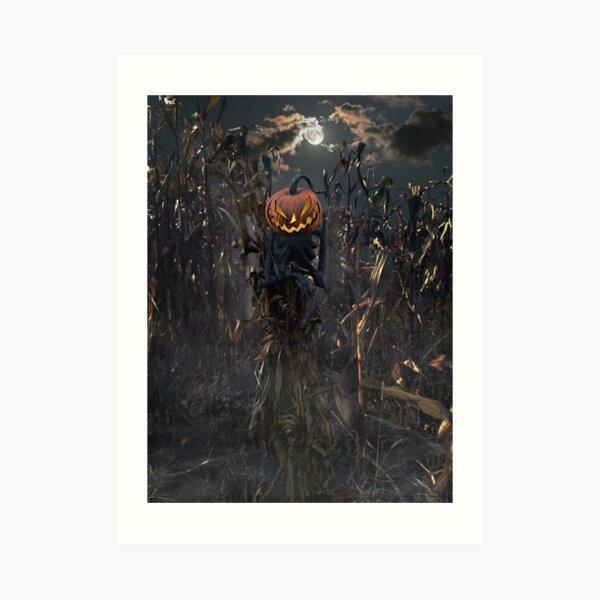 Moonlit Scarecrow Art Print