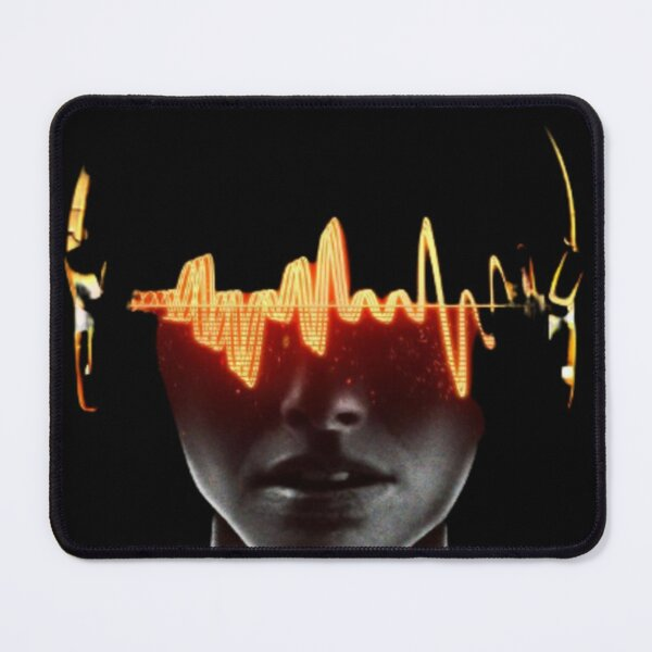 a dark man with a heart pulse Mouse Pad