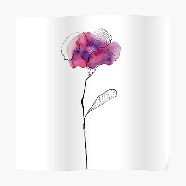 Solitary purple-pink flower Poster