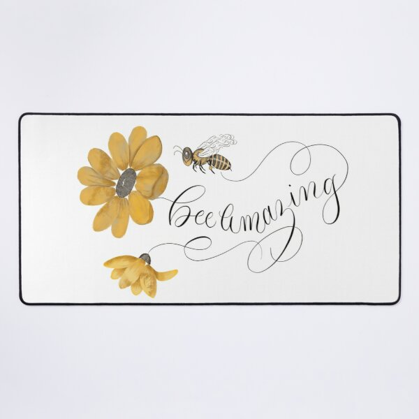 Bee Amazing Floral and Flourished Desk Mat