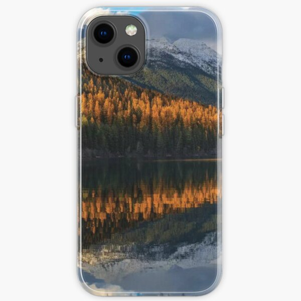 Mountain Peaks Reflect Into Bowman Lake In Autumn Glacier National Park iPhone Soft Case