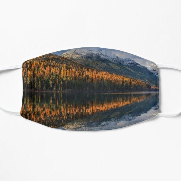 Mountain Peaks Reflect Into Bowman Lake In Autumn Glacier National Park Flat Mask