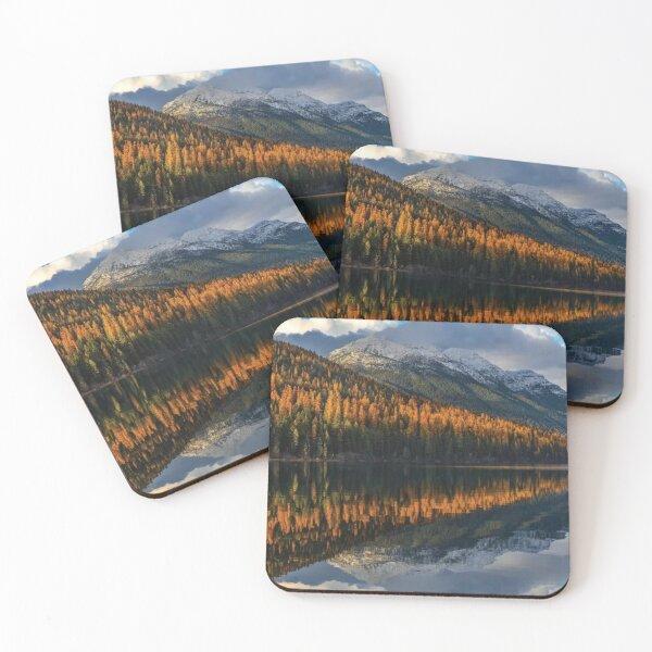Mountain Peaks Reflect Into Bowman Lake In Autumn Glacier National Park Coasters (Set of 4)